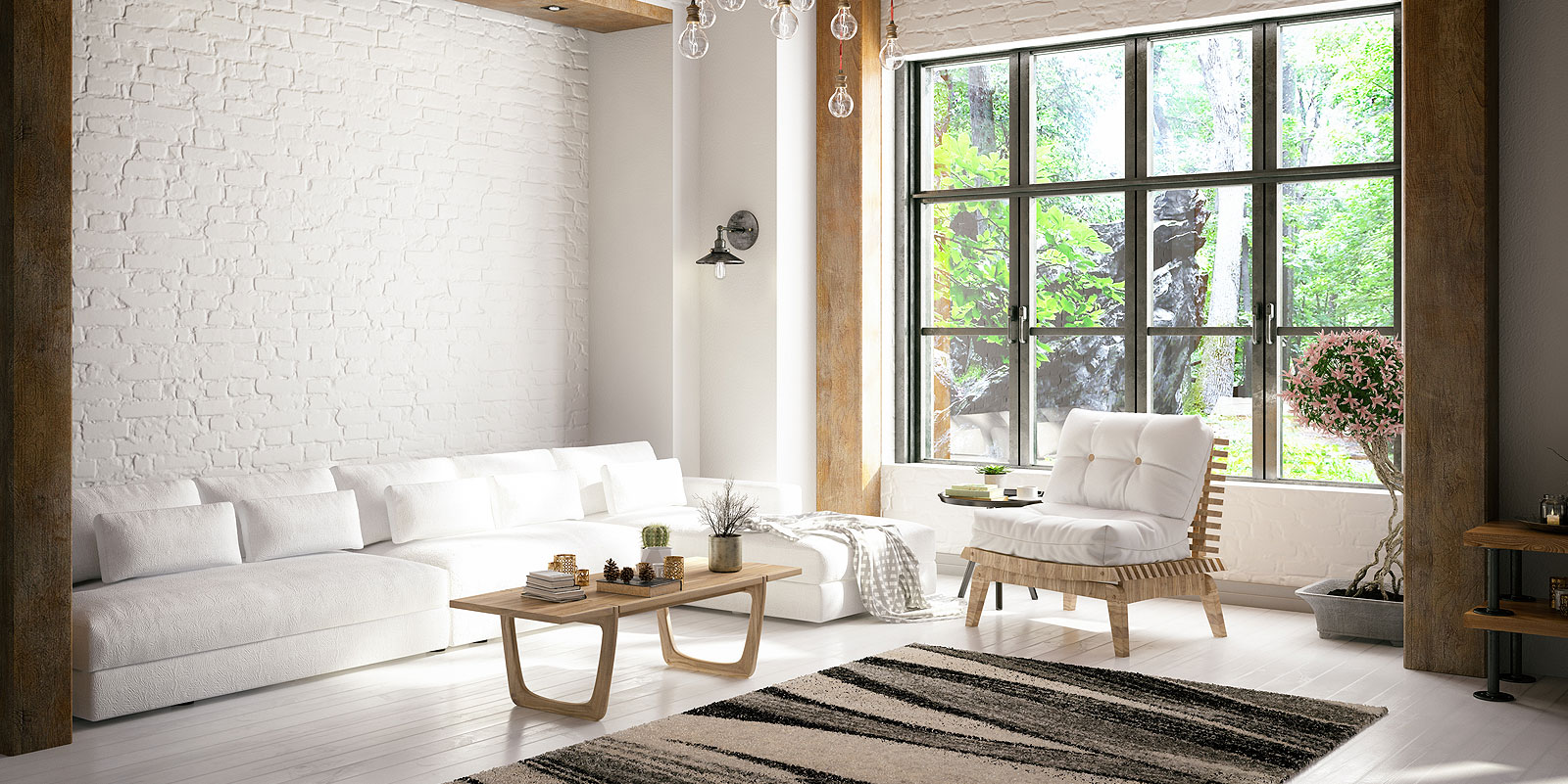 white and simple living room