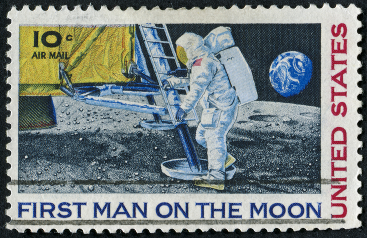 Stamp of the first step of man in the moon